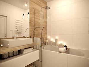 Sielankowa Prowansja - Mała biała beżowa łazienka w bloku w domu jednorodzinnym bez okna, styl klasyczny - zdjęcie od Inspira Design