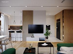 Forma, funkcja i styl - Średni biały salon z kuchnią z jadalnią, styl nowoczesny - zdjęcie od Inspira Design