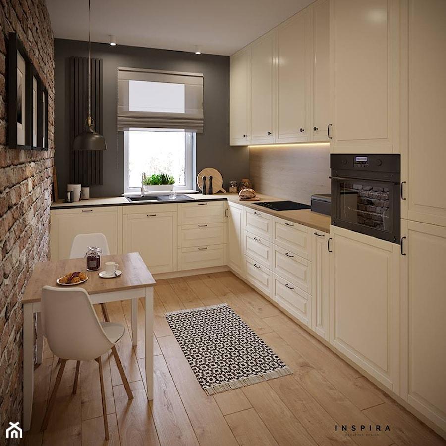 Przytulne m4 na Pradze - Średnia zamknięta wąska czarna kuchnia w kształcie litery l z oknem, styl prowansalski - zdjęcie od Inspira Design
