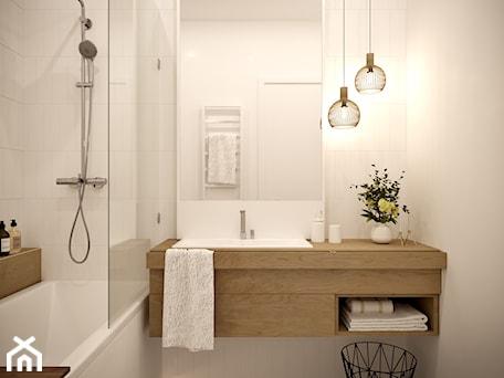 Aranżacje wnętrz - Łazienka: White and wood - Mała biała łazienka w bloku w domu jednorodzinnym bez okna, styl skandynawski - Inspira Design. Przeglądaj, dodawaj i zapisuj najlepsze zdjęcia, pomysły i inspiracje designerskie. W bazie mamy już prawie milion fotografii!