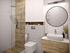 Dobrze się układa...;) - Średnia biała łazienka w bloku w domu jednorodzinnym bez okna, styl skandynawski - zdjęcie od Inspira Design