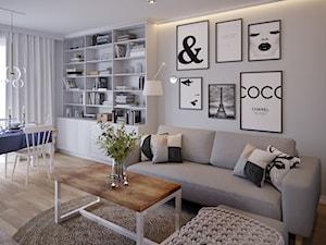 Sielankowa Prowansja - Średni biały salon z bibiloteczką z jadalnią, styl prowansalski - zdjęcie od Inspira Design