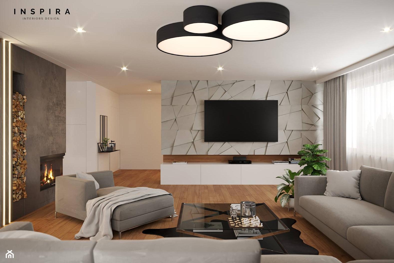 Nowocześnie - Duży biały salon, styl nowoczesny - zdjęcie od Inspira Design - Homebook