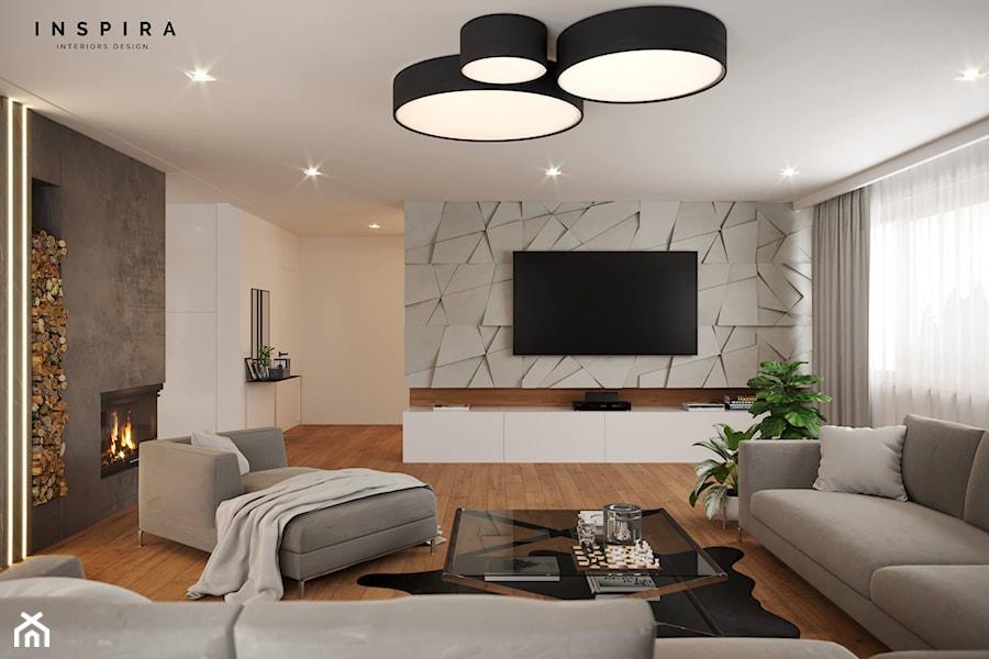 Nowocześnie - Duży biały salon, styl nowoczesny - zdjęcie od Inspira Design