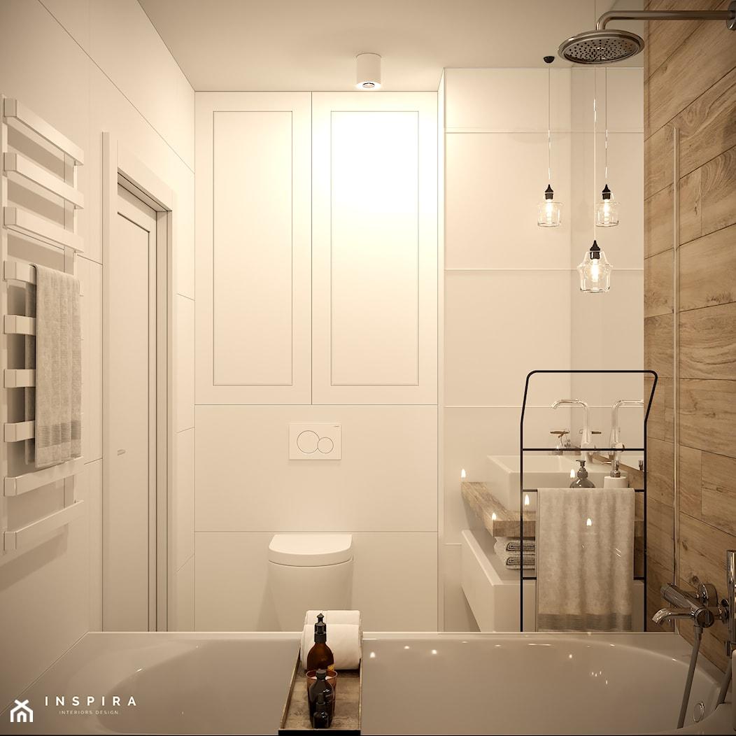 Sielankowa Prowansja - Mała biała beżowa łazienka w bloku w domu jednorodzinnym bez okna, styl klasyczny - zdjęcie od Inspira Design - Homebook