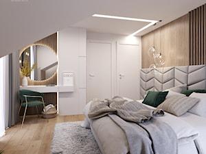 Soft and cozy - Średnia szara sypialnia małżeńska na poddaszu, styl nowoczesny - zdjęcie od Inspira Design