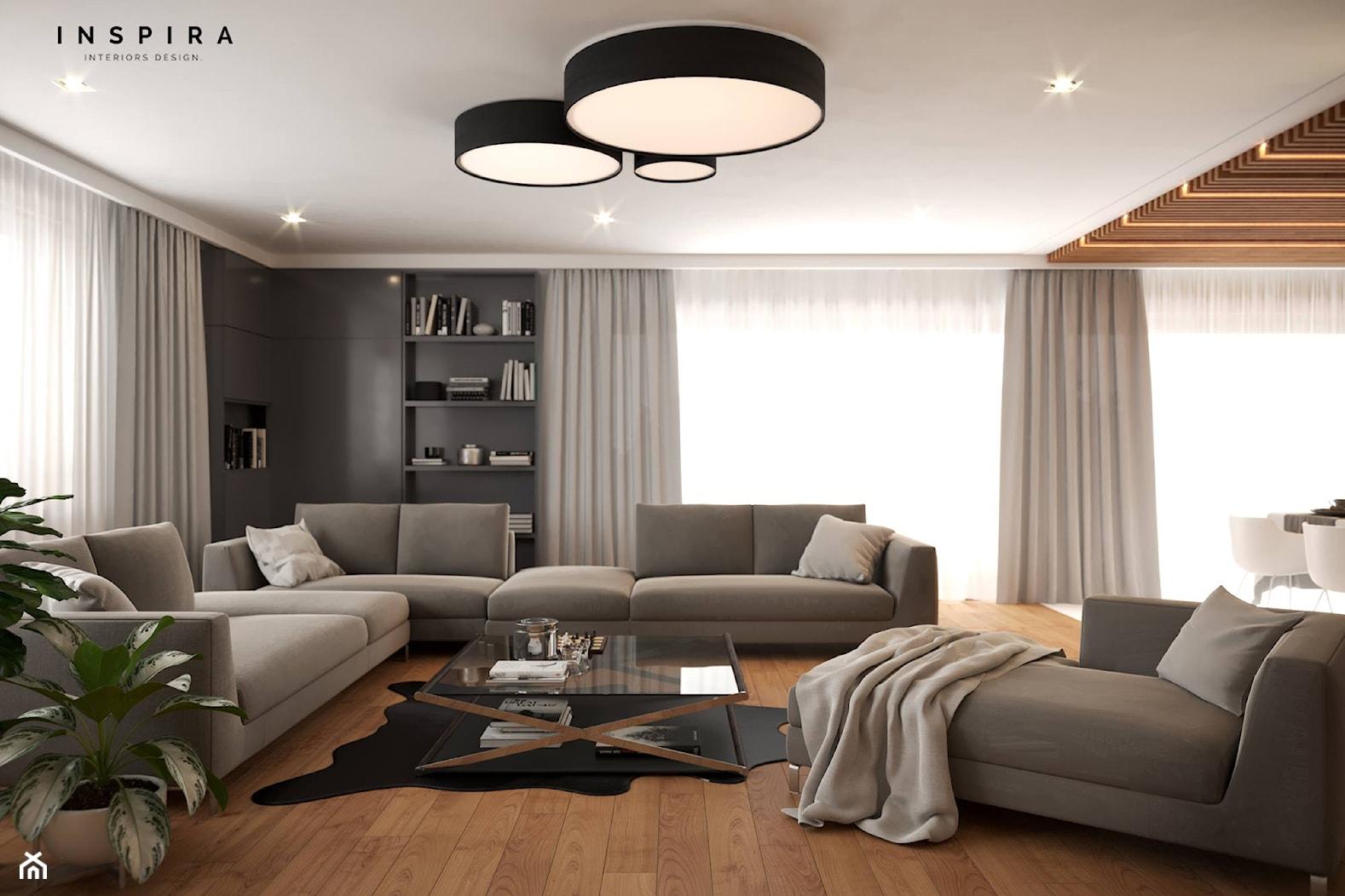 Nowocześnie - Średni szary salon z bibiloteczką, styl nowoczesny - zdjęcie od Inspira Design - Homebook