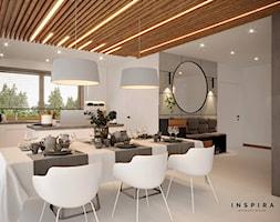 Nowocześnie - Średnia otwarta biała jadalnia w kuchni w salonie, styl nowoczesny - zdjęcie od Inspira Design