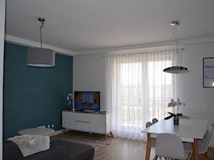 Mieszkanie w Iławie - Średni biały turkusowy salon z jadalnią, styl nowoczesny - zdjęcie od Studio Projekt