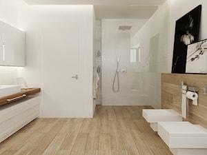 Łazienka w drewnie - Duża biała brązowa łazienka w domu jednorodzinnym, styl nowoczesny - zdjęcie od Ewelina Witkowska Architektura Wnętrz