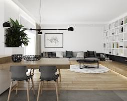 Projekt nr 8 - Duży biały salon z kuchnią z jadalnią, styl nowoczesny - zdjęcie od Ewelina Witkowska Architektura Wnętrz