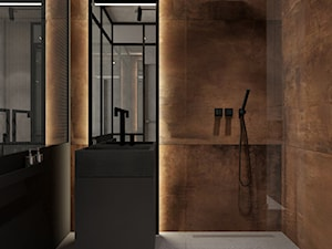 Mieszkanie w warszawskim Wilanowie - Średnia brązowa łazienka w bloku w domu jednorodzinnym bez okna, styl industrialny - zdjęcie od Ewelina Witkowska Architektura Wnętrz