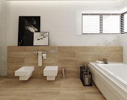 Łazienka w drewnie - Duża biała łazienka w domu jednorodzinnym jako salon kąpielowy z oknem, styl nowoczesny - zdjęcie od Ewelina Witkowska Architektura Wnętrz - Homebook