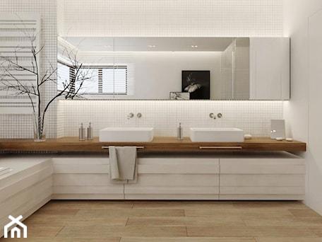 Aranżacje wnętrz - Łazienka: Łazienka w drewnie - Duża biała łazienka w domu jednorodzinnym z oknem, styl nowoczesny - Ewelina Witkowska Architektura Wnętrz. Przeglądaj, dodawaj i zapisuj najlepsze zdjęcia, pomysły i inspiracje designerskie. W bazie mamy już prawie milion fotografii!