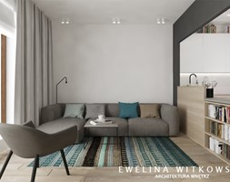 Projekt nr 3 - Mały szary czarny salon z kuchnią, styl nowoczesny - zdjęcie od Ewelina Witkowska Architektura Wnętrz
