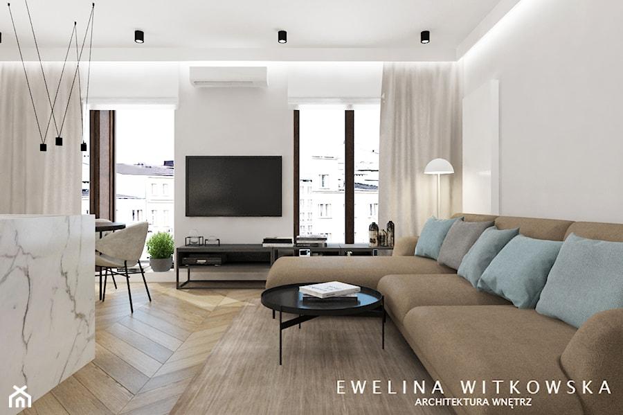 Projekt na warszawskiej Woli - Średni biały salon z jadalnią, styl nowoczesny - zdjęcie od Ewelina Witkowska Architektura Wnętrz