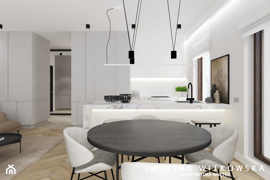 Projekt na warszawskiej Woli - Średnia otwarta biała kuchnia dwurzędowa w aneksie z oknem, styl nowoczesny - zdjęcie od Ewelina Witkowska Architektura Wnętrz