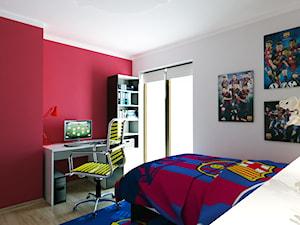 Willa Julia 4 - Mały biały czerwony pokój dziecka dla chłopca dla ucznia dla malucha dla nastolatka, styl nowoczesny - zdjęcie od Michał Ślusarczyk