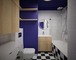 MĘSKA KAWALERKA BIELSK-PODLASKI - Mała biała niebieska łazienka na poddaszu w bloku w domu jednorodzinnym bez okna, styl skandynawski - zdjęcie od MOUD Joanna Swatek