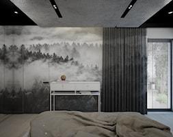 sypialnia z betonem w ciemnych kolorach - zdjęcie od MOUD Joanna Swatek - Homebook