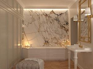 Apartament Kraków - Średnia biała beżowa łazienka w bloku w domu jednorodzinnym bez okna, styl klasyczny - zdjęcie od looma