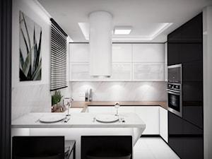 Mieszkanie w Dębicy - Średnia zamknięta biała szara kuchnia w kształcie litery g z oknem, styl nowoczesny - zdjęcie od looma