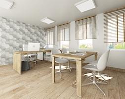 wnętrza biurowe Legnica - Średnie szare białe biuro pracownia w pokoju, styl skandynawski - zdjęcie od Niebudek Interior Design Agnieszka Niebudek