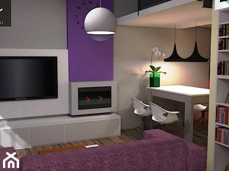 nowoczesna klasyka - Mały szary fioletowy salon z jadalnią, styl tradycyjny - zdjęcie od Niebudek Interior Design Agnieszka Niebudek
