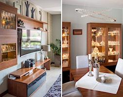 Mieszkanie Klasycznie - Średnia otwarta szara jadalnia w salonie, styl tradycyjny - zdjęcie od Niebudek Interior Design Agnieszka Niebudek
