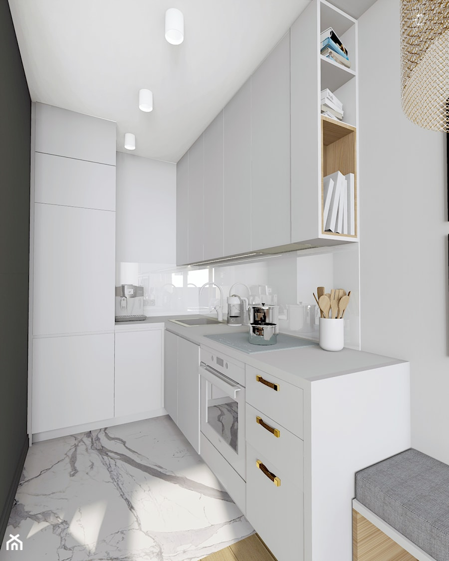 Mieszkanie 36 - metrowe przy muzeum lotnictwa. - Mała otwarta wąska biała kuchnia w kształcie litery l, styl nowoczesny - zdjęcie od Miliform