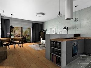 Mieszkanie Mokotów - Mała otwarta szara kuchnia w kształcie litery u w aneksie z oknem, styl industrialny - zdjęcie od 4-style Studio Projektowe