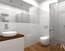 Projekt kawalerki - Średnia biała łazienka bez okna, styl minimalistyczny - zdjęcie od ML Projekt