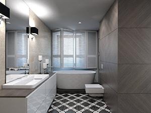 Dom jednorodzinny /Śląsk - Średnia beżowa szara łazienka w domu jednorodzinnym z oknem, styl klasyczny - zdjęcie od A2 STUDIO pracownia architektury