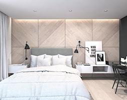 Dom w Warszawie - Średnia brązowa czarna sypialnia małżeńska - zdjęcie od A2 STUDIO pracownia architektury - Homebook