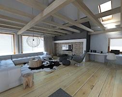 apartament w stylu góraskim - Duży szary biały salon, styl skandynawski - zdjęcie od A2 STUDIO pracownia architektury