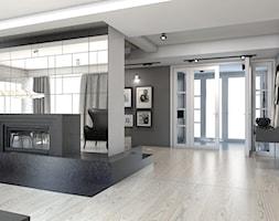 DOM JEDNORODZINNY / GLIWICE - Duży szary biały salon - zdjęcie od A2 STUDIO pracownia architektury