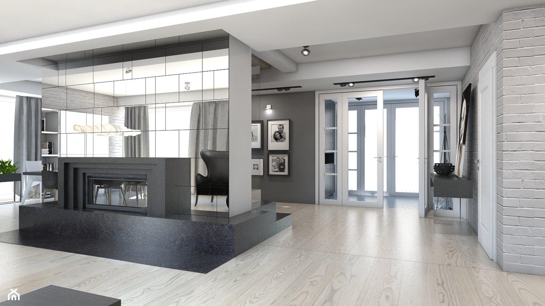 DOM JEDNORODZINNY / GLIWICE - Duży szary biały salon - zdjęcie od A2 STUDIO pracownia architektury - Homebook