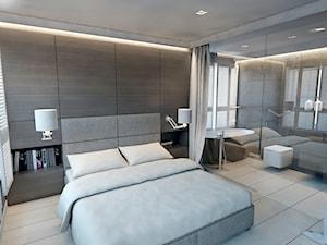 sypialnia z łazienką - dom w Australii - Duża brązowa sypialnia małżeńska z łazienką, styl nowoczesny - zdjęcie od A2 STUDIO pracownia architektury
