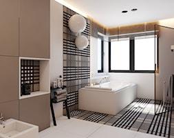 PROJEKT D19_15 / WARSZAWA _ ŁAZIENKA - Duża biała beżowa brązowa łazienka w domu jednorodzinnym jako salon kąpielowy, styl minimalistyczny - zdjęcie od A2 STUDIO pracownia architektury