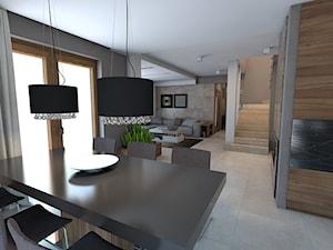 parter domu jednorodzinnego - Średnia otwarta szara jadalnia w kuchni, styl nowoczesny - zdjęcie od A2 STUDIO pracownia architektury