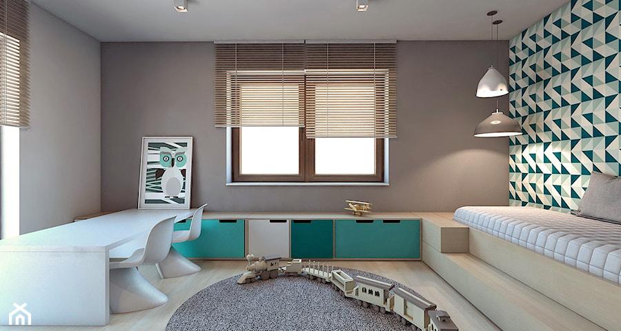 Dom jednorodzinny /Śląsk - Średni biały szary turkusowy pokój dziecka dla chłopca dla malucha, styl nowoczesny - zdjęcie od A2 STUDIO pracownia architektury