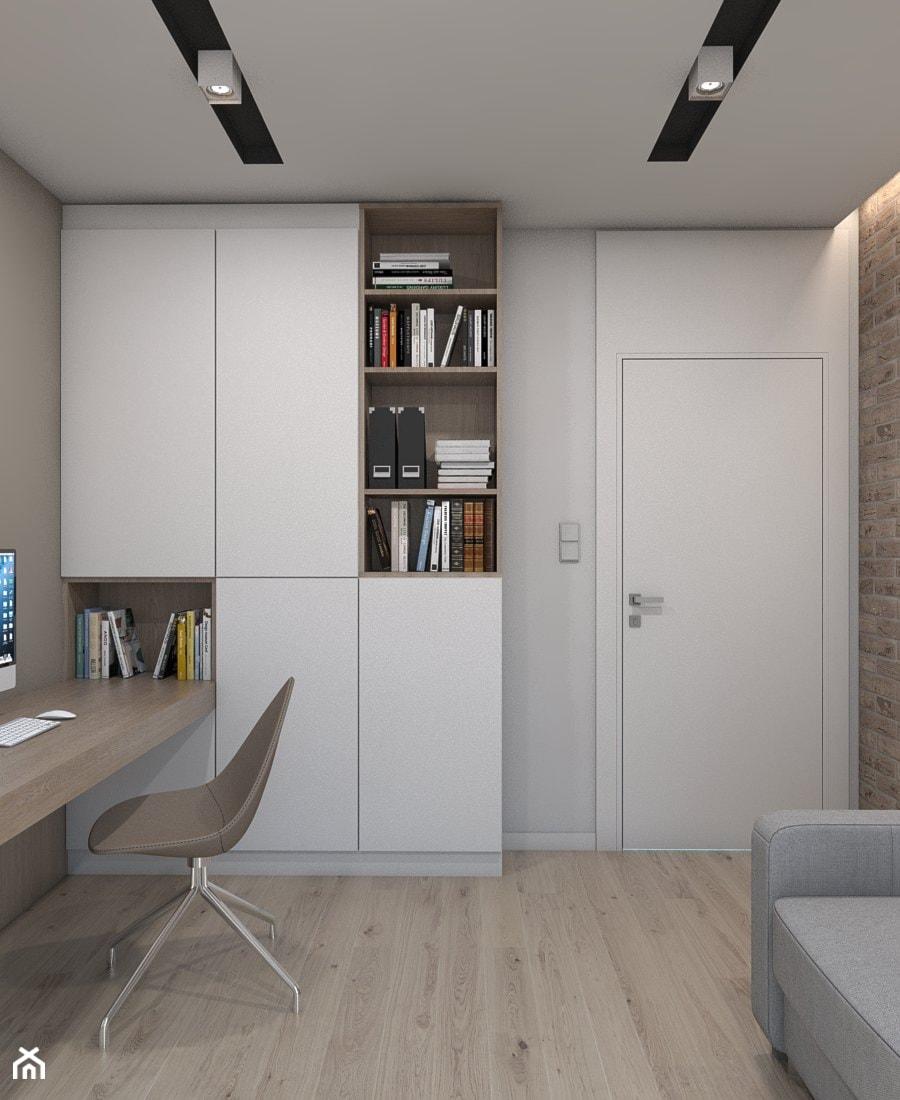 DOM JEDNORODZINNY D12/2015 TARNOWSKIE GÓRY - Małe beżowe brązowe białe biuro kącik do pracy w pokoju, styl nowoczesny - zdjęcie od A2 STUDIO pracownia architektury