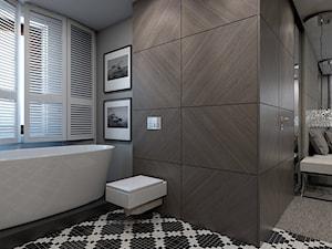 Dom jednorodzinny /Śląsk - Średnia brązowa szara łazienka w domu jednorodzinnym z oknem, styl klasyczny - zdjęcie od A2 STUDIO pracownia architektury