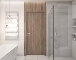 DOM JEDNORODZINNY D12/2015 TARNOWSKIE GÓRY - Mała średnia biała łazienka w bloku w domu jednorodzinnym bez okna, styl nowoczesny - zdjęcie od A2 STUDIO pracownia architektury
