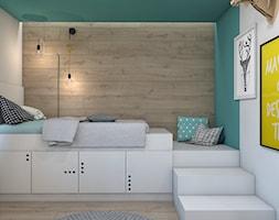 DOM JEDNORODZINNY D12/2015 TARNOWSKIE GÓRY - Średni biały turkusowy pokój dziecka dla chłopca dla malucha, styl nowoczesny - zdjęcie od A2 STUDIO pracownia architektury