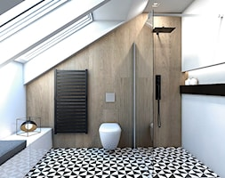 DOM JEDNORODZINNY / GLIWICE - Duża biała beżowa łazienka na poddaszu w domu jednorodzinnym z oknem, ... - zdjęcie od A2 STUDIO pracownia architektury - Homebook