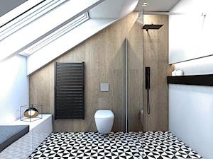 DOM JEDNORODZINNY / GLIWICE - Duża biała beżowa łazienka na poddaszu w domu jednorodzinnym z oknem, styl nowoczesny - zdjęcie od A2 STUDIO pracownia architektury