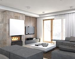dom jednorodzinny Żyrardów - Średni beżowy salon z tarasem / balkonem, styl nowoczesny - zdjęcie od A2 STUDIO pracownia architektury