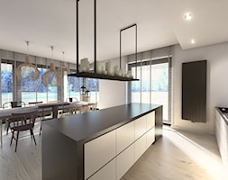 Dom jednorodzinny Zbrosławice - Duża otwarta szara kuchnia dwurzędowa z wyspą, styl nowoczesny - zdjęcie od A2 STUDIO pracownia architektury