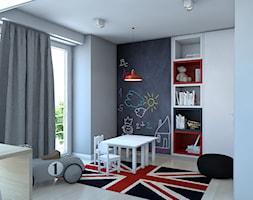 DOM JEDNORODZINNY / GLIWICE - Duży biały szary czarny pokój dziecka dla chłopca dla dziewczynki dla rodzeństwa dla malucha - zdjęcie od A2 STUDIO pracownia architektury